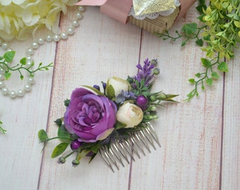 Purple hair comb Purple flower comb Purple wedding Purple headpiece Wedding comb purple Floral comb Violet flower comb Purple hair piece