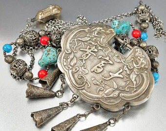 ON HOLD Antique Chinese Silver Lock Necklace, Coral Turquoise Bead Amulet Pendant Asian Jewelry Wedding Lock Rare 19th Century Charm
