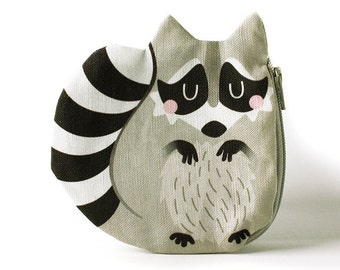Raccoon Coin Purse, Coon, Cotton, grey
