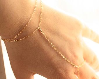 Delicate Finger Bracelet, Dainty Gold Hand Chain, Gold Filled Slave Bracelet, Dainty Bracelet, Everyday Bracelet, Dainty Body Jewelry