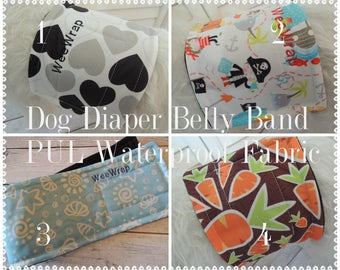 Male Dog Diaper, Belly Band, Waterproof PUL, Stop Marking, Personalized