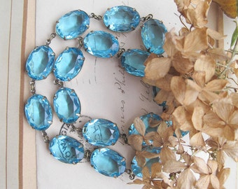 Aqua statement necklace, georgian collet, aquamarine necklace,  Anna Wintour necklace, blue statement necklaces, Edwardian jewelry, paste.