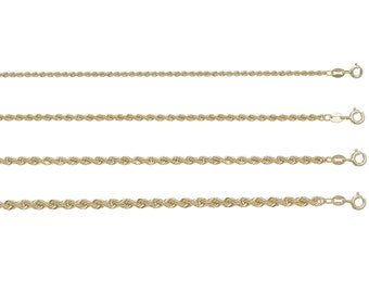 "9ct Yellow Gold Rope Chains 16"" 18"" 20"" 22"" 24"" 28"" 30"" Hallmarked"