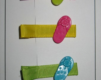 Pack of 4 Clippies, Bright flip flops
