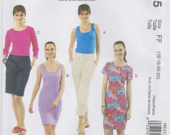 McCall's Sewing Pattern M6355 FF Misses' Tops & Dresses New UNCUT