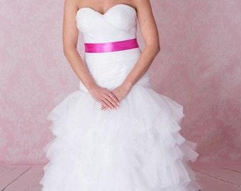 Tulle, organza ruffls dropped waist wedding dress pink sash