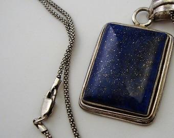 Vintage LAPIS BOLD SQUARE Pendant 20 Inch 925 Italian Sterling Silver Necklace Boho Lapis Necklace Deep Indigo Blue Lapis Pendant Necklace