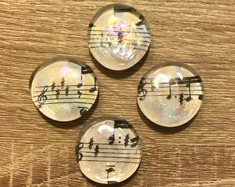Iridescent Sheet Music Glass Magnets