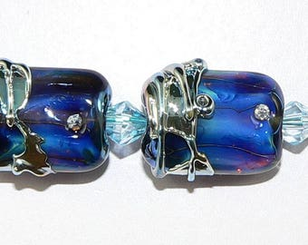 Handmade Lampwork Glass beads Earring Pair in Midnight Blue Silver Glass SRA
