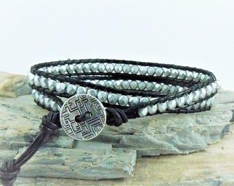 Silver Beaded Wrap Bracelet, Czech Silver Beads, Leather Wrap Bracelet, Silver Wrap Bracelet, Silver Cuff, Silver Wrap Jewelry