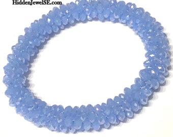 Light Blue Crystal Crocheted Bangle, stackable bangles, crystal bangle, roll on bangle, size 6.50 , crocheted bracelet, gift for her (C138)