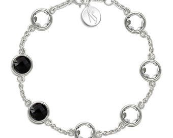 White Topaz, Black Onyx Bracelet, 925 Sterling Silver. , color white, weight 7.2g, #46645