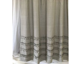 Medium Grey Linen Shower Curtains with 4 Rows of Ruffles, Dress up your Tub!