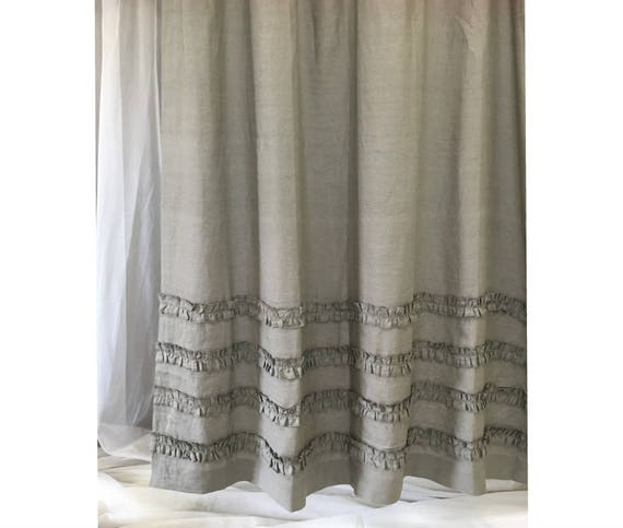 Medium Grey Linen Shower Curtains With 4 Rows Of Ruffles