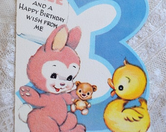 Vintage Birthday Card - 3 Year Old Pink Flocked Bunny Rabbit and Duckling - Used