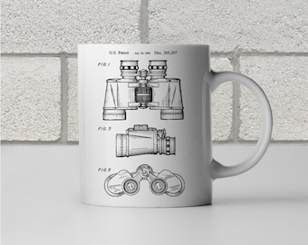 Binoculars Patent Art Mug Gift, Binoculars Mug, Binoculars Design, Bird Watching Gift, Boy Scout Gift, Boy Scout Leader, Coffee Mug