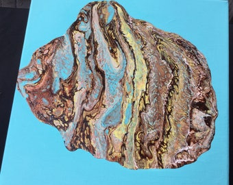 Clamshell Original Acrylic Painting on Canvas