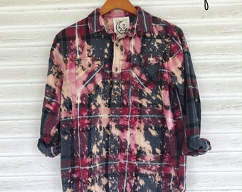 SMALL - Flannel Shirt - Bleached - Vintage Washed Flannel - Oversized Flannel - Distressed Flannel - Plaid Shirt - Fall Shirt - #51 - 2025