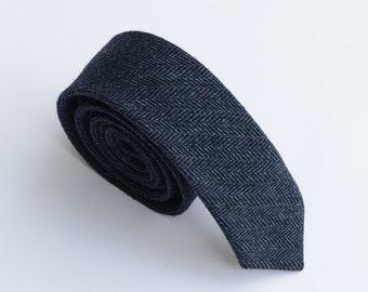 Navy Wool Tie.Navy Neckties for Men.Navy Herringbone Wool Necktie.Navy Wedding Tie.Navy Skinny Tie.Groomsmen Gift.