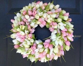 SPRING WREATH SALE Spring Wreath- Door Wreath- Easter Wreath- Tulip Wreath- Sizes 16-26 inches, custom colors- The Original Tulip Wreath