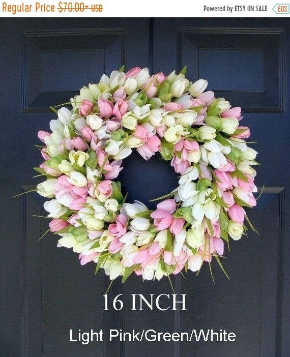 SPRING WREATH SALE Spring Wreath- Door Wreath- Easter Wreath- Tulip Wreath- Sizes 16-26 inches, custom colors- The Original Tulip Wreath