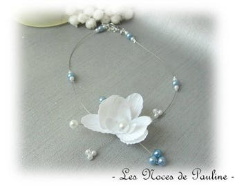 Bridal white and blue sky Emilie child jewelry, bridesmaid