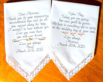 Wedding Gift Embroidered Wedding Handkerchiefs Flower Girl Grandmother Mother Mom Personalized Set of two Wedding Gifts By Canyon Embroidery
