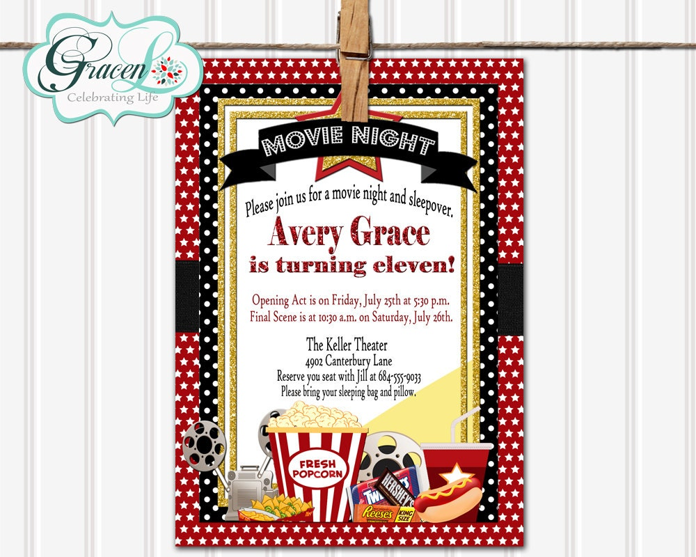 Movie sleepover birthday invitation movie night sleepover description send fun stylish birthday invitations filmwisefo