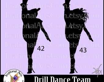 Drill Dance Team Silhouettes poses 42 & 43 - with 2 EPS, SVG Vinyl Ready files and 2 PNG Digital Files and Small Commercial License
