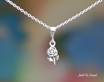 "Tiny Sterling Silver Rose Necklace 16-24"" Chain or Pendant Only .925"