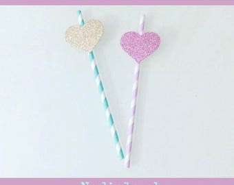 8 paper straws decorated with heart glitter/straws birthday/Party/birthday decorations/Hearts