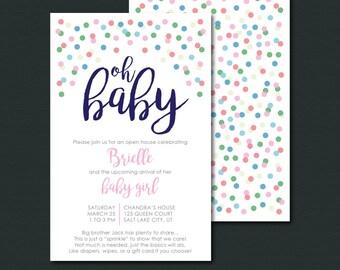 Baby Sprinkle Invitation   OH BABY  Baby Girl Sprinkle Shower