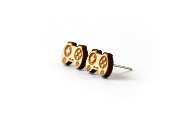 Controller studs - videogame earrings - geek posts - tiny nerd jewelry - lasercut maple wood - hypoallergenic surgical steel