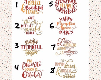 Fall Sayings/Thanksgiving/Decals/Cups/Iron-ons