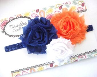 Orange Blue White Headband - Gator Headband - Team Sports Hairbow - ALL SIZES