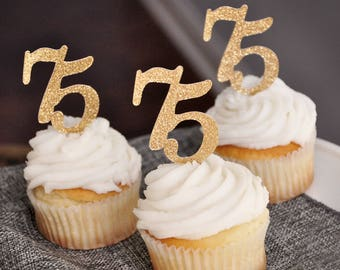 """75th Birthday Party Decor.  Handcrafted in 2-5 Business Days. """"75"""" Cupcake Toppers 12CT.   75th Anniversary Cupcake Toppers."""