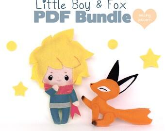PDF sewing pattern bundle - poseable chibi felt boy and fox plush - easy beginner DIY human and animal dolls