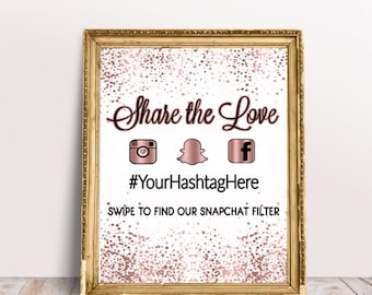 Rose Gold Confetti Snapchat and Hashtag Social Media Sign, Share the Love sign
