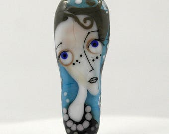 Glass bead , face bead , lampwork portrait , handmade glass mask , artbead , glasperle , jewelry unique glass pendant