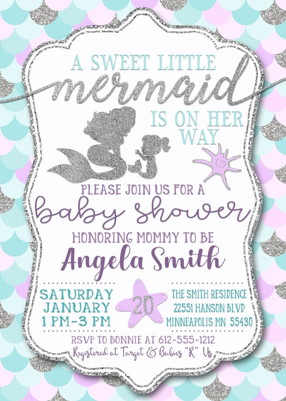 Mermaid Baby Shower Invitation|Mermaid Baby Shower Invites|Pastel Mermaid  Invitations|Girl Baby Shower Invitation|Purple Mermaid|Silver Gold
