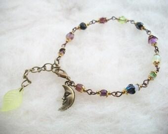 Bracelet Glass Beads New Moon Beaded Bracelet , Glass Beads and Filigree Findings Bronze Moon Hippie Boho Beaded Bracelet