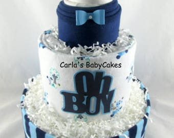 Boy diaper cake | Oh boy diaper cake | Baby Diaper Cake | Baby Shower Gift | New Mom Gift | | Baby shower decoration | Baby sprinkle gift