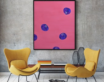 Original Modern Minimalist Art Abstract Modern Painting Still Life Food Acrylic Painting Figurative Contemporary Painting Fruit Blueberry