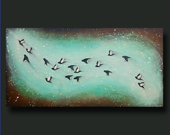 Flock of Birds, Birds Flying, Abstract Birds, Rust Art, Splatter, Whimsy - Taking Flight Series 18x36 by Britt Hallowell