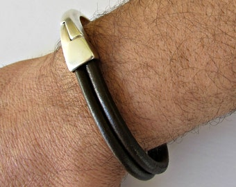 Leather Mens Bracelet Mens Leather Bracelet Cuff Brown Black Silver Plated Magnetic Clasp Customized On Your Wrist