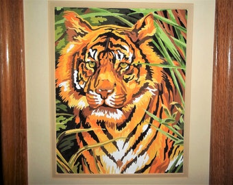 Finished Paint by Number of a Tiger - Matted and Framed