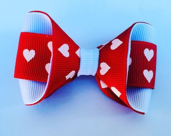 Love Heart ribbon Hair Bow ***FREE Shipping for Valentines ****