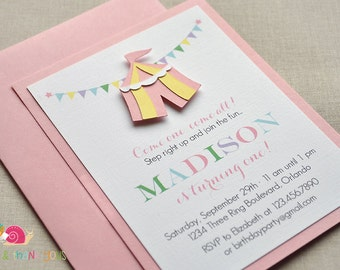 Pink and Yellow Circus Tent Invitations · A2 LAYERED · Under the Big Top | First Birthday Party | Carnival Baby Shower | Carnival Party