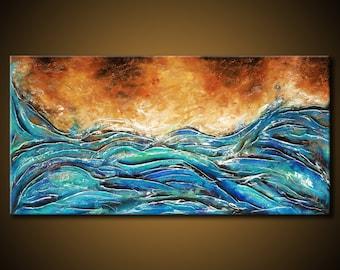 ORIGINAL Ocean Sea Shore Abstract Painting TEXTURED 48x24 Canvas Blue Aqua Brown Fine Art by Federico Farias