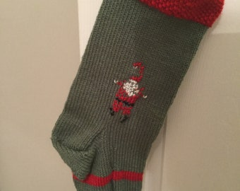 Hand Knit Christmas Stocking, green, red, medium size, embroidered santa